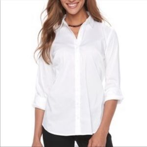 Dress Barn White Button Up Collared Blouse size M